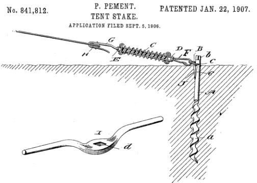 An interesting feature of Philemon Pementu0027s 1907 patent for a  Tent Stake  is a removable handle for screwing the stake into the ground.  sc 1 st  The Weekly Screw and The Occasional Screw and The Daily Screw from ... & The Weekly Screw and The Occasional Screw and The Daily Screw from ...